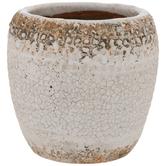 Crackled White Flower Pot
