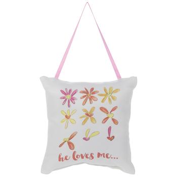 He Loves Me Floral Pillow Door Hanger