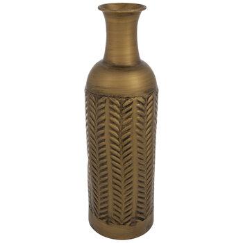 Gold Floral Metal Vase