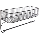 Gray Wire Metal Wall Basket With Rod
