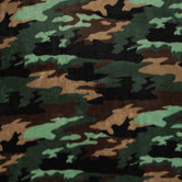 Green Camouflage Velvet Fleece Fabric