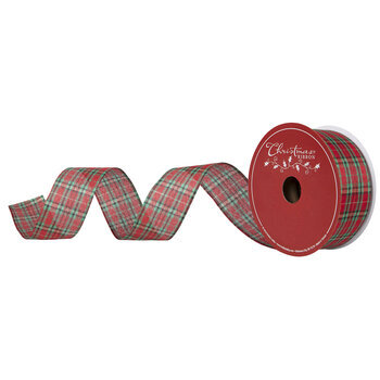 "Metallic Red & Green Plaid Wired Edge Ribbon - 2 1/2"""