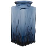 Dark Blue Square Glass Vase