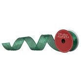 "Green Metallic Wrinkled Wired Edge Ribbon - 1 1/2"""