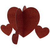 Red Glitter Hearts Table Decor