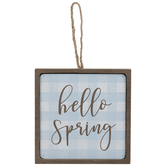 Hello Spring Buffalo Check Wood Ornament