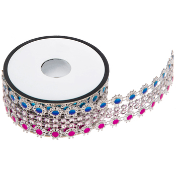 Pink & Blue Faceted Trim - 1 1/8""
