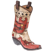 Red & Cream Cowboy Boot Vase