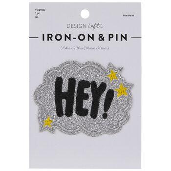 Hey! Glitter Cloud Iron-On Applique