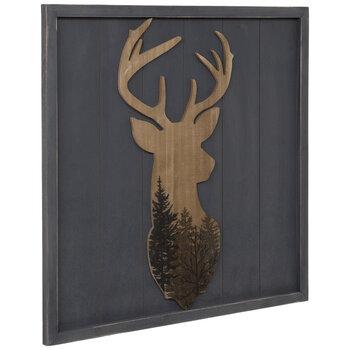 Gray & Brown Deer Head Wood Wall Decor