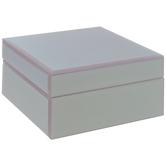 Pink Iridescent Square Glass Jewelry Box