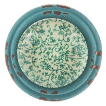 Turquoise Metal Knob With Paisley Print
