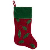 Red & Green Velvet Holly Stocking