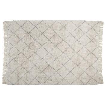 Cream & Gray Diamond Patterned Rug with Fringe - 5' x 7'