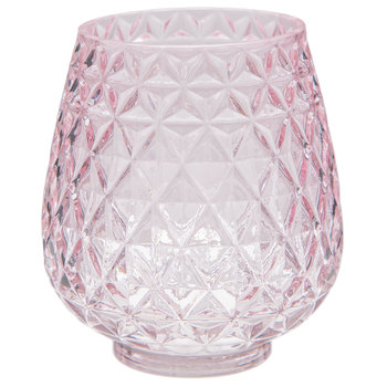 Pink Triangle Etched Glass Vase