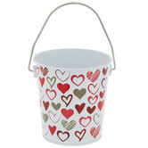 White & Red Hearts Metal Bucket
