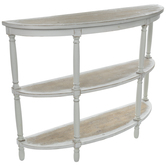 Three-Tiered Half Circle Wood Console Table
