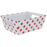 White & Red Foil Polka Dot Container