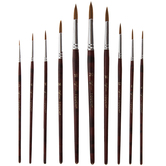 Light Brown Taklon Acrylic & Watercolor Round Paint Brushes - 10 Piece Set