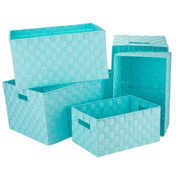 Light Blue Rectangular Woven Nylon Basket Set