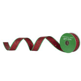 """Red & Green Wired Edge Ribbon - 1"""""""