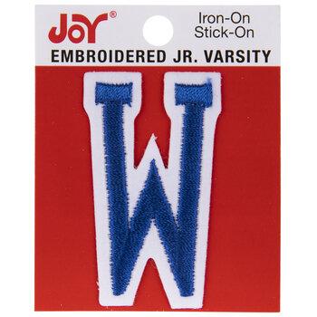 "Blue Junior Varsity Letter Iron-On Applique W - 2"""