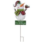 Happy Holidays Snowman Metal Garden Stake