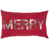 Red Plaid Merry Pillow