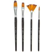 Gold Taklon Paint Brushes - 4 Piece Set
