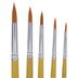 Gold Nylon Round Paint Brushes - 5 Piece Set