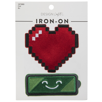 Heart & Battery Iron-On Appliques