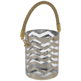 Gold Chevron Glass Candle Holder