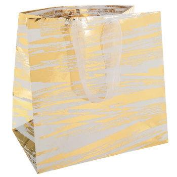 White & Gold Brush Stroke Gift Bag
