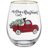 Christmas Truck Stemless Glass