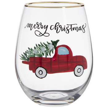 Christmas Truck Stemless Glass