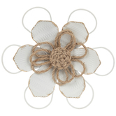 White & Gold Flower Metal Wall Decor