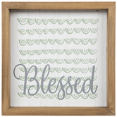 Blessed & Green Scallops Wood Decor