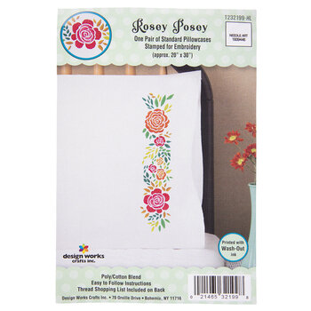 Rosey Posey Embroidery Pillowcases Kit