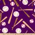 Purple Baseballs Fleece Fabric