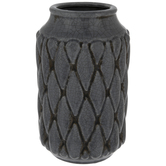 Gray Crackled Diamond Pattern Vase