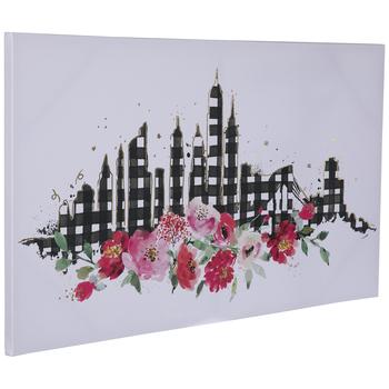 Floral City Skyline Canvas Wall Decor