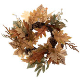 Brown Leaf & Pinecone Candle Ring
