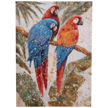 Parrots & Palm Leaves Canvas Wall Decor