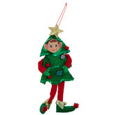 Elf Wearing Christmas Tree Costume Ornament