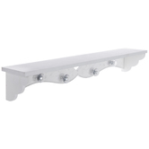 White Heart & Vines Wood Wall Shelf With Knobs