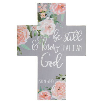 Psalm 46:10 Floral Wood Wall Cross