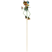 Frog With Orange Bowtie Metal Garden Pick