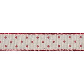 "Cream & Red Polka Dot Wired Edge Mesh Ribbon - 1 1/2"""