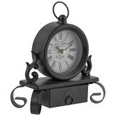Black & Brown Metal Clock With Drawer