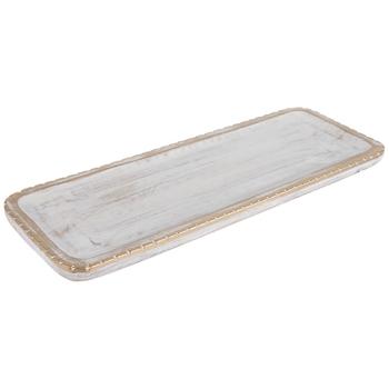 Whitewash & Gold Rectangle Wood Tray